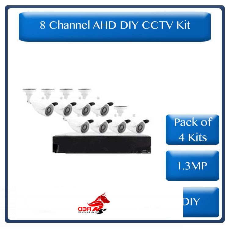 * Pack of 4 Kits *DIY 8 Channel AHD kit with 1.3MP digital camera's, 720P recording and internet remote viewing (R2400 each)